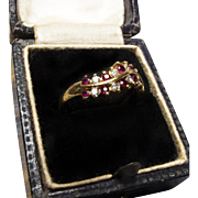*Rose Petals & Stars* Retro Ruby & Diamond Wave Ring in 18K Yellow Gold