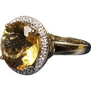 *Sundrop* HUGE Citrine & Diamond Halo 14K Gold Ring -- From my Personal Collection!