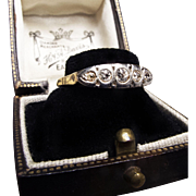 *Constellation* Five-Diamond Platinum-Topped Victorian Ring c.1890 in 18K Yellow Gold with Gallery