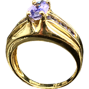 A Slice of Solid Twilight! Unusual Periwinkle Tanzanite Estate Ring