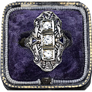 Quintessential Art Deco c.1920 Diamond Ring in 14K White Gold with Diamonds with a cttw of .60 plus 2 Triangular Sapphires (ring size 6.75)