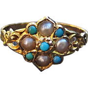 Gorgeous Victorian Pearl and Turquoise Ring Solid 15k Gold in Antique Box