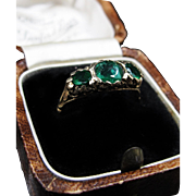 *Loki's Trio* Antique Victorian Three-Emerald Ring in 18K Yellow Gold