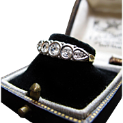 *Five Stars* Antique Victorian Five-Diamond Ring with Platinum Top 18K Gold