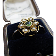*Olive Branch* Peridot & Pearls Flower Ring in Bright 9K Gold