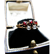 *Bloodmoon Ritual* Antique Victorian Garnet & Moonstone 14K Gold Double-Band Ring