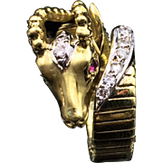An Elegant Treasure! Graceful Gazelle Head Gold Ring with Ruby Eyes and Diamonds