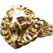 Sir Richard the Lion! Roaring Lion Head Victorian Ring with Ruby Eyes