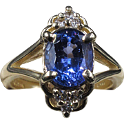 """Lucy in The Sky With Diamonds"" Stunning Periwinkle Tanzanite Flanked by 6 Sparkling Diamonds Estate 14K Gold Ring size 6"