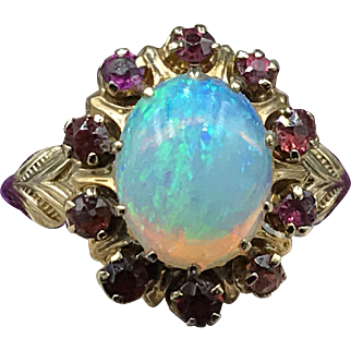 Edwardian circa 1910 Opal & Ruby 16K Gold Ring (size 6.75) with Fancy Shoulders--Simply Luxurious!