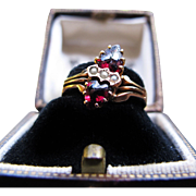 Exceptional Twin-Garnet & Three-Pearl Ring in 14K Yellow Gold