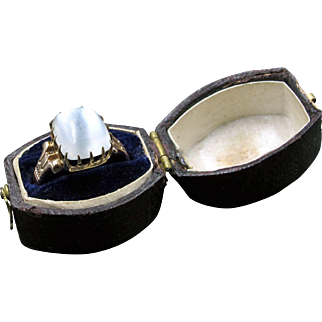 The Gift of Light! Titanic Sugarloaf Moonstone Blush Gold Ring