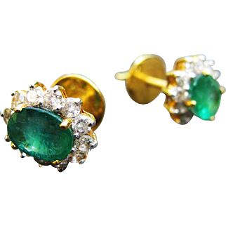 Exquisite Emerald & Diamonds 23K Yellow Gold Earrings Vintage