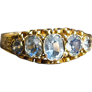 """Mermaid Queen"" Victorian Aquamarine Five Stone Band 15k Stunning Engraving Birmingham, 1867"