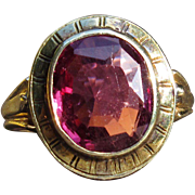 """Pretty In Pink"" Pink Tourmaline and 14k gold Victorian Ring (size 3.5), Circa 1895"