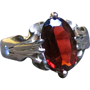 """""""Blood Drop"""" Garnet and solid 14k gold Victorian ring (size 6.25)"""