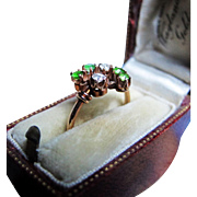*Stars & Emeralds* Antique Emerald & Diamond Ring in Gold