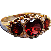 *Dragon's Hoard* Three-Garnet Antique Ring with Diamonds in 18K Gold