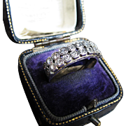 *Starry Array* Antique Art Deco Diamond Double Half Band Ring in Platinum 0.6ctw