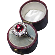 *Dracula's Treasure* Antique Garnet & Diamond Ring in 18K White and Yellow Gold