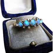*Ethereal Spheres* Antique Five-Opal Ring in 14K Yellow Gold with Diamonds