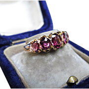 *Little Flames* Antique Five Pink Tourmaline Ring in 9K Yellow Gold