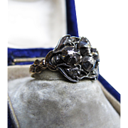*Ivy Garden* Antique Georgian Silver Diamond Ring with Gold Band