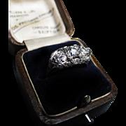 *Ethereal Arrangement* Art Deco Diamond & Platinum Filigree Ring
