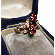 *Milk & Wine* Antique Victorian Garnet & Pearl Ring in 15K Gold