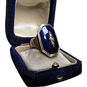 Inscribed Memoir Antique Georgian Blue Enamel Gold Ring c.1790