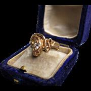 """Salazar's Treasure"" 18k Gold Snake Ring with single round-cut Diamond circa 1920 (size 7)"
