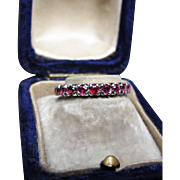 *Dragon's Blood* Antique Ruby Eternity Band in 18K White Gold