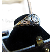 *Heart of the Stars* Art Deco Diamond Platinum Ring with Inscription