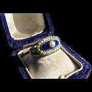 All Original Georgian Blue Enamel and Pearl Ring (size 6.25) Circa 1810-1820