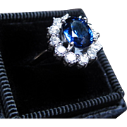 *Galaxy Forge* Vintage Sapphire & Diamond Ring in Platinum with Star-Shaped Tabletop
