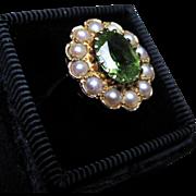 *Merlin's Elixir* Late Victorian Peridot & Pearl Ring in 9k Gold