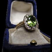 *Laufey's Legacy* Art Deco Peridot & Diamond Ring in 9k White & Pink Gold