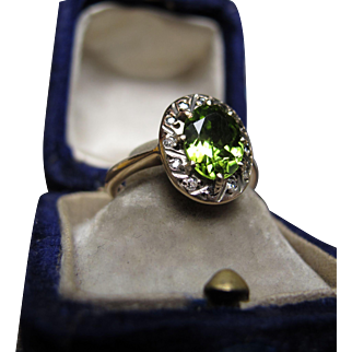 *Laufey's Legacy* Art Deco Peridot & Diamond Ring in 9k White & Pink Gold