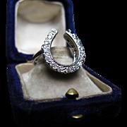 *Equestrian Relic* Vintage Diamond & 14K White Gold Horseshoe Ring c.1930