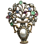 Rare and Wonderful Georgian Period Giardinetti Gold Ring with Gemstones circa 1750--Just Fabulous!  (size 6.25-7)