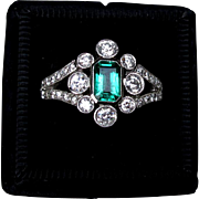Sumptuous Large Emerald and Diamond Estate Engagement Ring in 18k White Gold