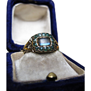*Lunar Love* Antique Victorian Moonstone & Green Pearl Inscribed Ring in 15K Gold