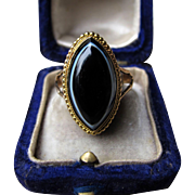 """Agat Eye"" Victorian Agat Ring with Locket Back (Size 8)"