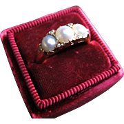 """Snowy Triplets"" Victorian Triple Pearl with Diamonds and 18k Gold Band (size 5.5)"