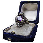 *Voidwalker* Vintage Amethyst Silver & Gold Ring with Accenting Diamonds