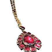 *The Countess* Antique Georgian Flat-Cut Garnet Necklace in 15K Gold