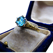 *Star of Rivendell* Antique Victorian c.1890 Blue Zircon & Platinum Ring in 22K Gold