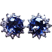 *The Tanzanite Minds* Antique Vintage Estate Tanzanite & 18K White Gold Earrings with Diamonds