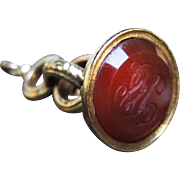 *Heart of Fire* Antique French Petite Carnelian Fob in 18K Gold Napolean III Period c.1860