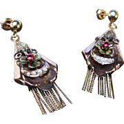 *The Shards* Antique Victorian Garnet Earrings in 15K Gold with Pearls